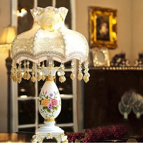 In stile europeo lampada elegante lusso creativo regali nozze nozze decorata accensione a caldo della lampada Lampade da camera comodino ,8820 beige perla lampade , l'interruttore a pulsante