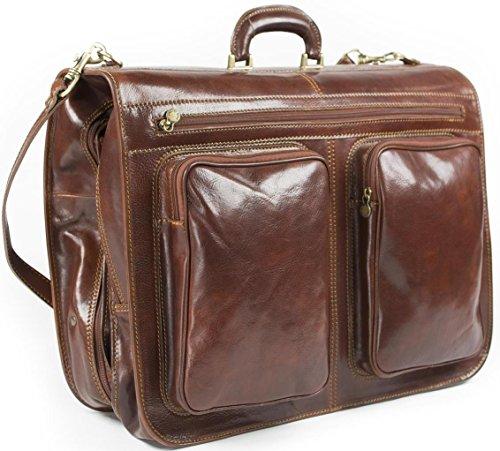 Rivello - borsone da viaggio porta abiti - pelle italiana - marrone ... 37d0d862c34