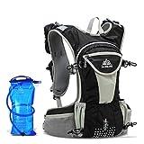 HENDTOR Laufen Nylon Backpacks12l Outdoor Leichte Hydration Marathon Klettern Radfahren Wandern Wasser Packs Sporttaschen Black with Water Bag