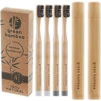 Cepillo de dientes orgánico de Green Bamboo, cerdas de dureza media impregnadas con carbón negro, con funda de transporte; 100 % respetuoso con el medio ambiente y biodegradable; vegano, orgánico y respetuoso con los pandas; libre de BPA; 4 unidades