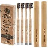 Cepillo de dientes de bambú orgánico con cerdas de carbón negro y funda de viaje, 100 %...