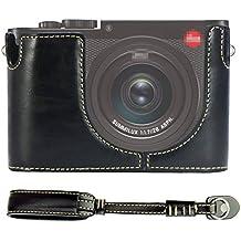 First2savvv negro Funda Cámara cuero de la PU cámara digital bolsa caso cubierta para Leica Q Digital SLR + Correa de mano XJPT-LeicaQ-D01S01