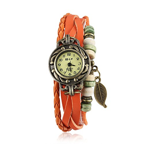 iWatch-Damen-Armbanduhr-Retro-Baum-Blatt-Leder-Armkette-Armband-Analog-Quarz-Uhr-Watches-Orange