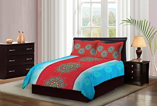 Bombay Dyeing Light Blue With MultiColor Floral Printed Design 104 TC Cotton Double Bedsheet with 2 Pillow Covers  available at amazon for Rs.699