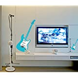 "Ascent Decals ""Guitar With Mic"" Music Wall Sticker For Living Room (PVC Vinyl, 90 Cm* 60 Cm )"
