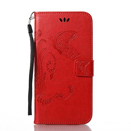 EKINHUI Case Cover Solid Color Faux Leder Bookstyle Brieftasche Stand Case mit geprägten Blumen & Lanyard & Card Slots für Samsung Galaxy A7 2017 ( Color : Blue ) Red