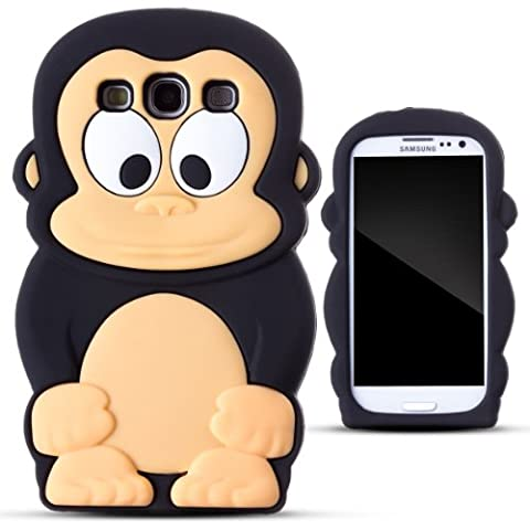 Zooky AG332 Coque en silicone pour Samsung Galaxy S III i9300 Noir Motif Singe
