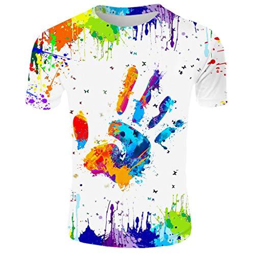 LUCKYCAT Herren T-Shirt 3D Muster Kurzen Ärmels Kurzarm Shirt Sport Fitness T-Shirt Rundhalsausschnitt Lässige Graphics Tees Herren Damen T-Shirt 3D Druck Kurze Ärmel Grafik T Shirts Männer Fun Shirt - Indische Muster Hanf