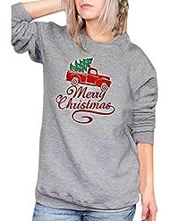 Paolian Vêtements de Noël de femme de Mode d'impression de Voiture de Lettre Haut Shirt