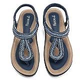 gracosy Sandalias Planas Verano Mujer Estilo Bohemia Zapatos para Mujer de Dedo Sandalias Talla Grande 36-44 Cinta Elástica Casuales de Playa Chanclas Romanas de Mujer 2019 Rhinestone de Moda