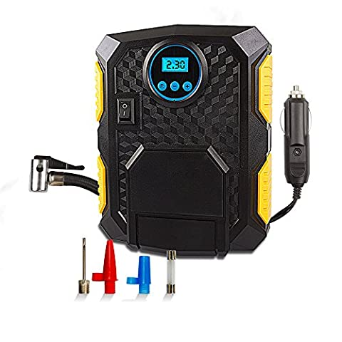 Digital Tyre Pressure Inflator for Cars, LANIAKEA 12V DC 150PSI Portable Electric Auto Air Compressor Pump with Adaptor Set, LED Light, Fast and Stable Inflatable