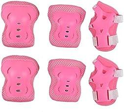 Pink : 6pcs/Set ld's Skateboard Wheel Slide Protection Pads Kids Roller Skating Knee Elbow Wrist Protector Guard Pads Kit HX115