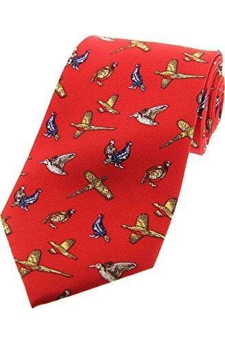 Soprano weinrot Country Vögel Seide Krawatte mit Fasan, Rebhuhn, Waldschnepfe und Moorhuhn (Vogel Krawatte)