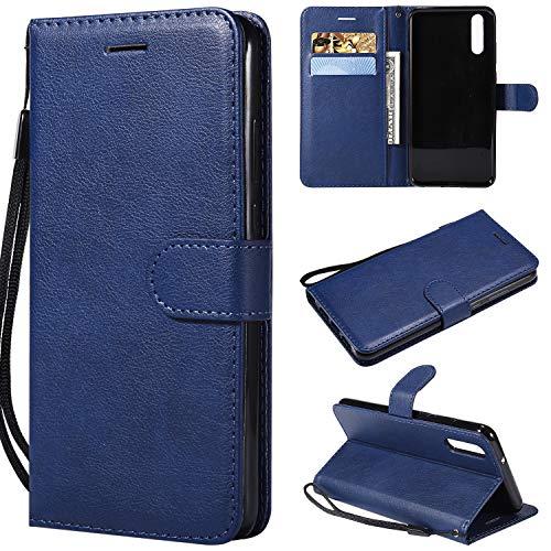 Artfeel Flip Brieftasche Hülle für Huawei P20, Premium PU Leder Handyhülle mit Kartenhalter,Retro Bookstyle Stand Abdeckung mit Magnetverschluss Handschlaufe Hülle-Blau -