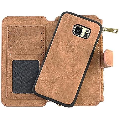 B4Life Custodia in Pelle Portafoglio, con Scomparto per Carte Di Credito, Banconote e Portamonete con Zip, per Samsung Galaxy S7 Edge (Marrone)