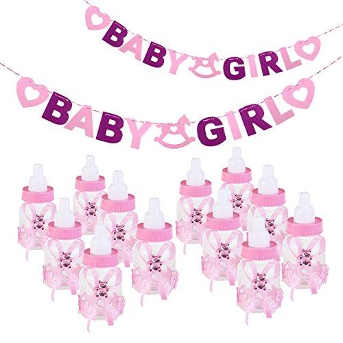 NUOLUX Baby Feeder Style Candy Flasche mit Buchstaben BABY Girl Garland Banner für Party Favors Dekorationen (Pink)
