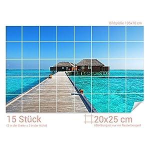 GRAZDesign Fliesenwandbild Strand - Fliesensticker Bad Strandhaus - Badfliesen überkleben Urlaub - Fliesenaufkleber Meeresblick/Fliesenmaß: 20x25cm (BxH) / 761013_20x25_70
