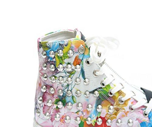 JustGlam - Chaussures les snakers des femmes lacées fleurs fantastiques faux cuir bas coin lacets de fermeture Blanc