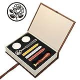 Mogoko Sigillo + 3*Ceralacca + Cera + Cera Stick Spoon Francobolli Vintage Kit per Lettera Personalizzata Timbri Personali IL MIGLIORE REGALO SET - Rosa