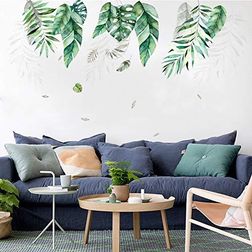 skwff Dormitorio etiqueta de la pared Nordic ins vegetación tropical gran hoja pared salón pegatinas decorativas PVC extraíble