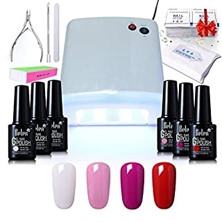 Gel Nail Starter Kit , Belen 4 Colours Soak-off Lacquer UV Gel Polish 10ML 36W UV Lamp Top & Base Coat New Starter Nail Art Manicure Kit