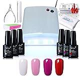 Gel Nail Starter Kit , Belen 4 Colours Soak-off Lacquer UV Gel Polish