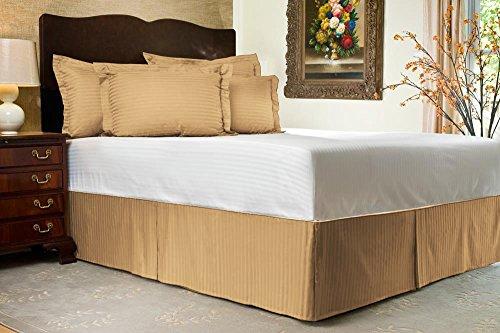 Komfort Bettwäsche 650tc 3Bettvolant 48,3cm Drop Länge 100% ägyptische Baumwolle Streifen, taupe, Einzelbett (Zoll Bedskirt 19)