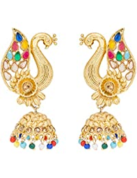 The Luxor Traditional Gold Plated Peacock Jhumki Earring For Women And Girls(ER-1759)
