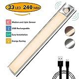 Licht mit Bewegungssensor, LED Schranklicht, Nachtlicht, wiederaufladbar per USB, automatisch, 33 LEDs mit magnetischem 3m Klebeband für Schrank, Küche, Flur, Badezimmer, 4 Modi