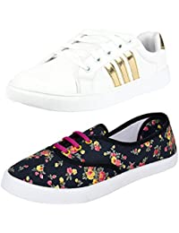 Bersache Women's Canvas Sneaker Shoe - Pack of 2
