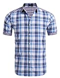 Coofandy Herren Sommer Hemd Kurzarm Freizeithemd Trachtenhemden Classic T-Shirt Basic Oktoberfest Stil (XXL, Red)
