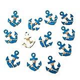 12 kleine blaue Holzanker MIT Klebepunkt: Maritime Deko Schiffsanker Anker Streuteile Streudeko Zierstreu Mini Tischschmuck Hochzeit Event Business Symbol Kraft Mut Zukunft zum Streuen und Kleben