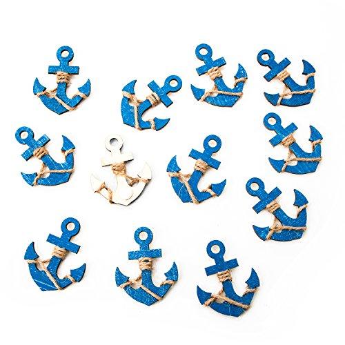 (12 kleine blaue Holzanker MIT Klebepunkt: Maritime Deko Schiffsanker Anker Streuteile Streudeko Zierstreu Mini Tischschmuck Hochzeit Event Business Symbol Kraft Mut Zukunft zum Streuen und Kleben)