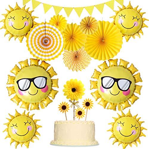 JOYMEMO Sonnenschein-Partydekorationen gelb hängende Papier Fans Sunflower Cake Topper und Ballons für Sunny Summer Theme Party Geburtstag Baby Shower Supplies