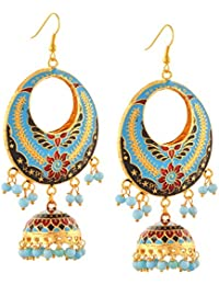 Zephyrr Earrings Lightweight Chandbali Hook With Meenakari And Beads