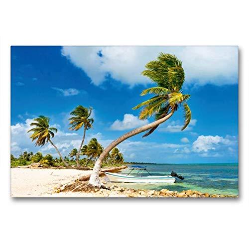 Calvendo Premium Textil-Leinwand 90 cm x 60 cm quer, EIN kleines Boot ankert vor einem traumhaften Palmenstrand an der Costa Maya | Wandbild, Bild auf Maya, Quintana Roo, Mexiko Orte Orte