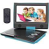 ieGeek Reproductor DVD Portátil Coche Niños con Pantalla HD 9.5' TFT LCD, Multi Region Gratis, Batería Recargable 5H, Jack de Auriculares Dual, Puerto AV / SD / USB (Azul)