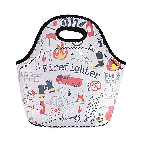 Red Alarm Firefighter Freehand Doodle Feuerwehrmann Löscher und Ausrüstung isolierte Neopren-Lunch-Taschen für Frauen für Arbeit Erwachsene Männer Kinder Picknick-Box Moderne Lunch-Taschen