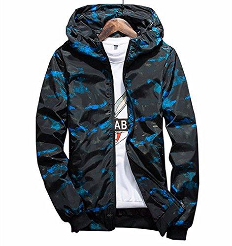 Qingxian Herren Frühling Herbst Jacke Trenchcoat Camouflage Slim Jacke Männer Hoodies Jacke (XXL, Blau)