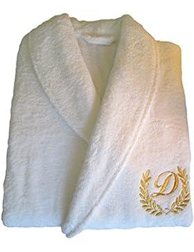 HOTEL Edition dorado/plata personalizado blanco albornoz, 100% algodón, Embroidery Gold, Small