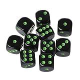 Richi Tackle 10pcs 15mm Multicolor perlas de acrílico cubo dados juegos de mesa portátil de seis lados juguete, 0.59'', Negro, verde