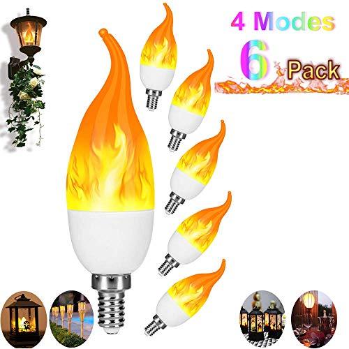 DOOK Flamme Glühbirne LED Flamme Lampe,2019 Neuest Effekt Glühbirne mit mehr Modi,E26 LED Birne dekoratives Licht für Weihnachten, Haus, Restaurants, Bar,6pack -