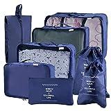 Joyoldelf 8 stück Kleidertaschen, verbesserte Koffer Gepäck Aufbewahrung Taschen Organiser für trockene Kleidung, Schuhe, Unterwäsche, Kosmetik, Bücher, Süßigkeiten und andere Zubehör (Dunkelblau)