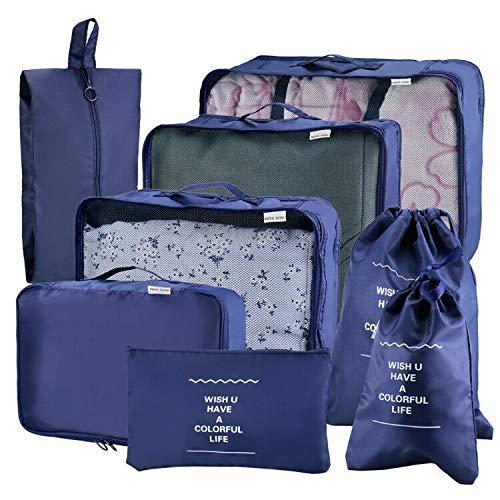 Joyoldelf Ensemble de 8 Organisateurs de Voyage Organisateur Valise Sacs de Rangement Cube, Organisateur de Bagage de Sac Voyage pour des Vêtements (Bleu Foncé)