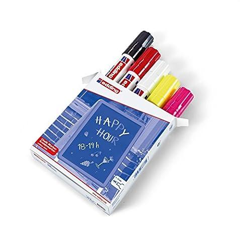edding 4090 Kreidemarker - Farbe: 5er-Set (Schwarz, Rot, Weiß, Neongelb, Neonpink)- Kreidestift / Fenstermarker - Beschriften von Fenster, Tafel und Glas - Feucht abwischbar