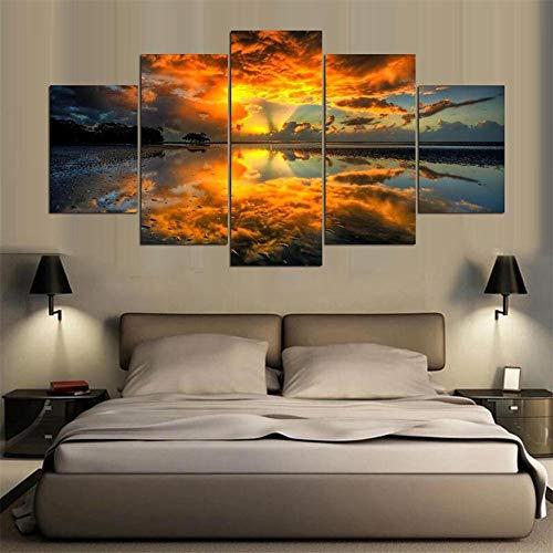 WSNDG Moderna Decorazione Domestica Pittura su Tela Pittura a Inchiostro Pittura murale Pittura Wulian Sunrise Scenario Naturale Senza Cornice Ci 10x15 / 2 10x20 / 2 10x25