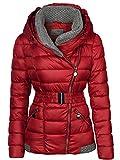 Damen Winter Jacke Gestrickte Kragen GROßE Kapuze KURZ Mantel Skijacke, Farbe:Rot, Größe:XXL