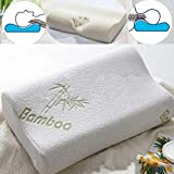 Memory Foam Pillow, MEJOY Neck Care Pillow Bamboo Fiber Slow Rebound Cervical Health Care, Neck Pain Relief, Orthopedic Neck, Hypoallergenic Anti-Mites, Breathable Moisture Absorption 50x30cm