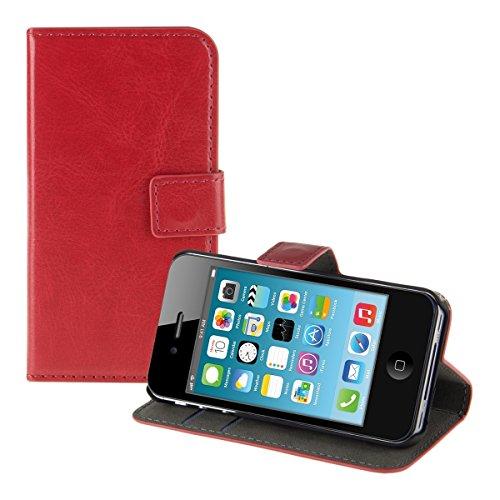 kwmobile Hülle für Apple iPhone 4/4S - Wallet Case Handy Schutzhülle Kunstleder - Handycover Klapphülle mit Kartenfach und Ständer Rot