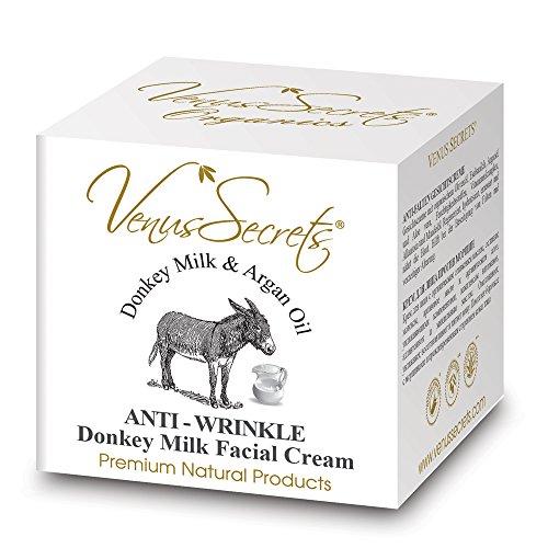 Anti-Falten Creme - Gesichtsfeuchtigkeitscreme mit Eselsmilch & Arganienöl - 50 ml - reduziert Falten und andere Zeichen der Hautalterung - Verbessert Hauttonus und Elastizität
